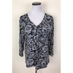 Charter Club Floral V-Neck Top XL